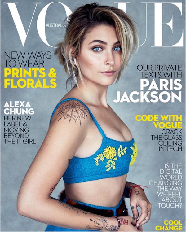 Paris Jackson na capa da revista Vogue Austrália (Foto: Instagram)