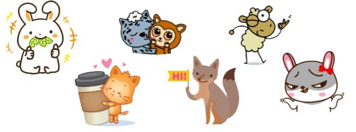 Animais fofos são temas de conjuntos de figurinhas do Facebook (Foto: Reprodução/Carol Danelli)