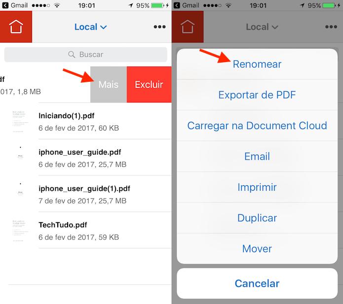 Ação para iniciar a ferramenta para renomear documentos PDF no Adobe Reader para iPhone (Foto: Reprodução/Marvin Costa)