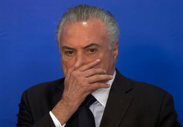 O presidente Michel Temer durante cerimônia no Palácio do Planalto (Foto: Joedson Alves/EFE)