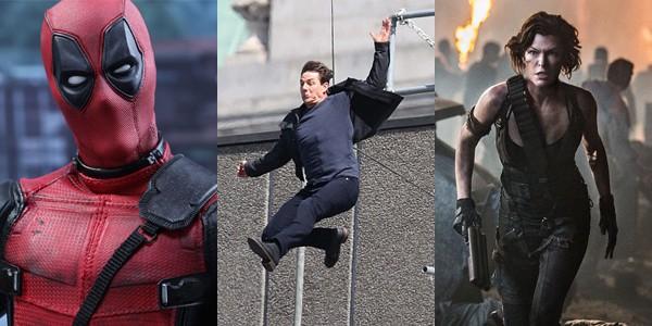 'Deadpool 2' (2018), gravação de 'Missão Impossível 6' (2018) e Resident Evil: O Capítulo Final (2017) (Foto: Divulgação/Reprodução)