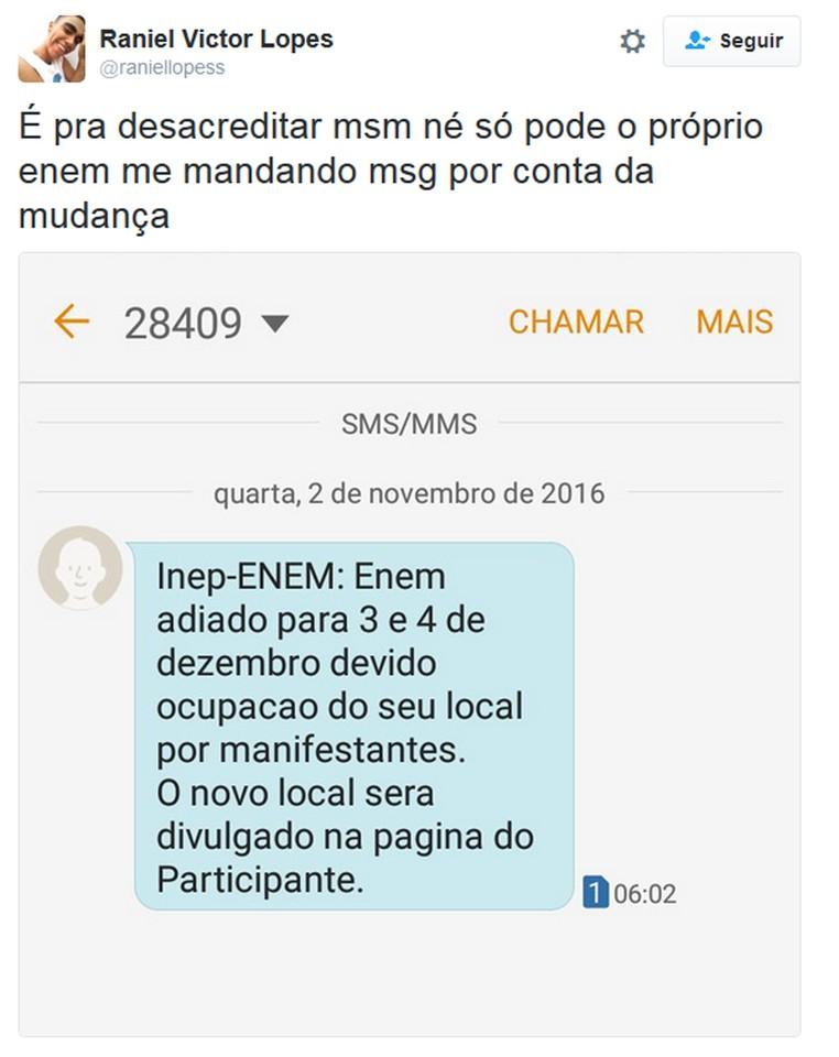 No Twitter, participantes compartilham aviso sobre adiamento do Enem (Foto: Reprodução/Twitter)