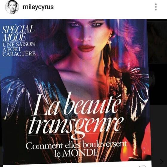 A cantora americana também compartilhou a imagem da capa de março da Vogue Paris que traz Valentina como estrela (Foto: Reprodução)