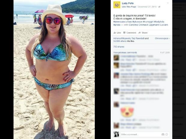 Foto da blogueira Carolina recebeu vários comentários de incentivo, curtidas e compartilhamentos: 'é questão de liberdade', diz curitibana (Foto: Reprodução / Facebook)