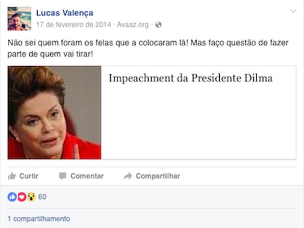 Mensagem publicada pelo policial Lucas Valença, no Facebook, contra a ex-presidente Dilma Rousseff (Foto: Reprodução)