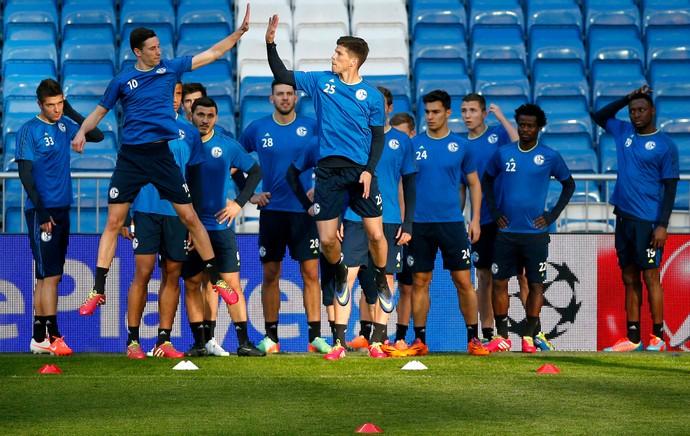 Draxler Huntelaar treino Schalke Santiago Bernabéu (Foto: Reuters)