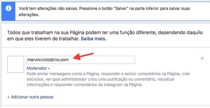 Ferramenta para adicionar um moderador de comentários em uma página do Facebook (Foto: Reprodução/Marvin Costa)