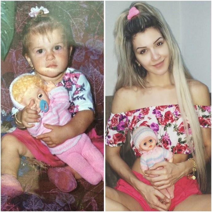 Tatiele Polyana, hoje com 24 anos, refez foto de quando tinha 1 aninho (Foto: Arquivo Pessoal)