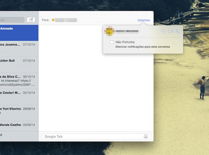 Silenciando conversas no aplicativo Mensagens do Mac OS X Yosemite (Foto: Reprodução/Marvin Costa)