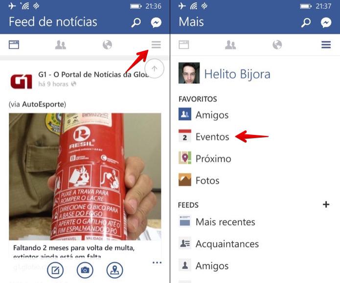 Acessando eventos do Facebook no Windows Phone (Foto: Reprodução/Helito Bijora)