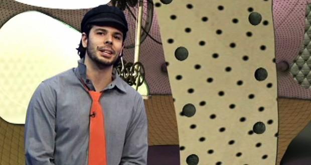 Jonas Almeida, em mais um dos seus 'modelitos' inusitados (Foto: Reprodução/TV Vanguarda)