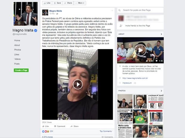 Senador Magno Malta divulga vídeo em que conta ter sido hostilizado dentro de voo, em Confins (Foto: Reprodução/Facebook)