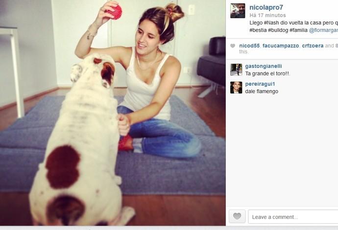 Nicolas Laprovittola posta foto no seu instagram de sua mulher com Nash, o buldogue inglês do armador argentino (Foto: Arquivo pessoal)