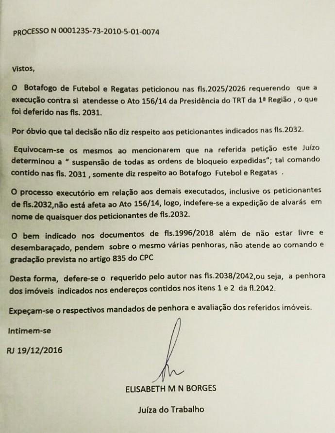 Justiça autoriza penhora de imóveis de dirigentes do Botafogo