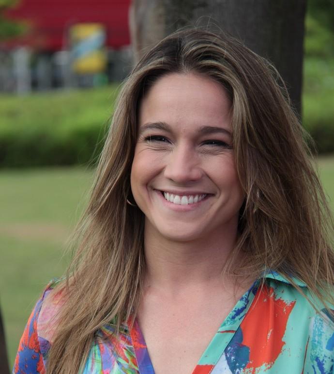 Fernanda Gentil nos bastidores do 'Domingão' (Foto: Marcos Mazini/Gshow)