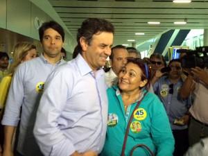 Aécio Neves chegou ao RN na tarde desta quinta (21) (Foto: Fernanda Zauli/G1)