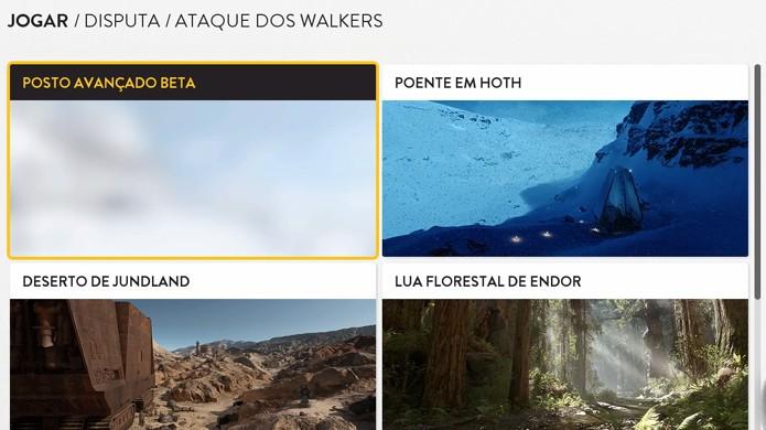 Escolha um dos mapas de Star Wars Battlefront para ser o palco do seu combate (Foto: Reprodução/Rafael Monteiro)