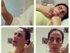 Solange Gomes faz careta durante sessão de depilação com linha