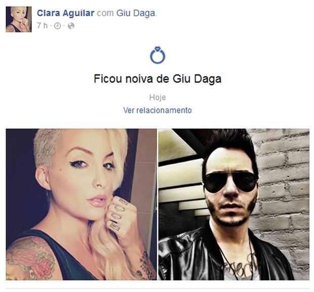 Ex-BBB Clara anuncia que ficou noiva do namorado, Giu Daga, na web (Foto: Facebook/Reprodução)