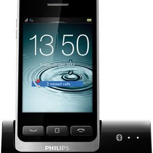Disponível apenas na União Europeia, o modelo S10A de telefone fixo, da Philips, é um aparelho que possui apenas tela sensível ao toque  (Foto: Divulgação/Philips)