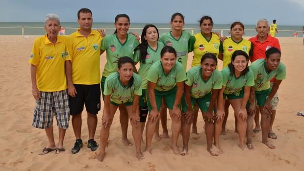 Servicar, campeão do 1º turno do Paraibano de futebol de areia feminino (Foto: Expedito Madruga)
