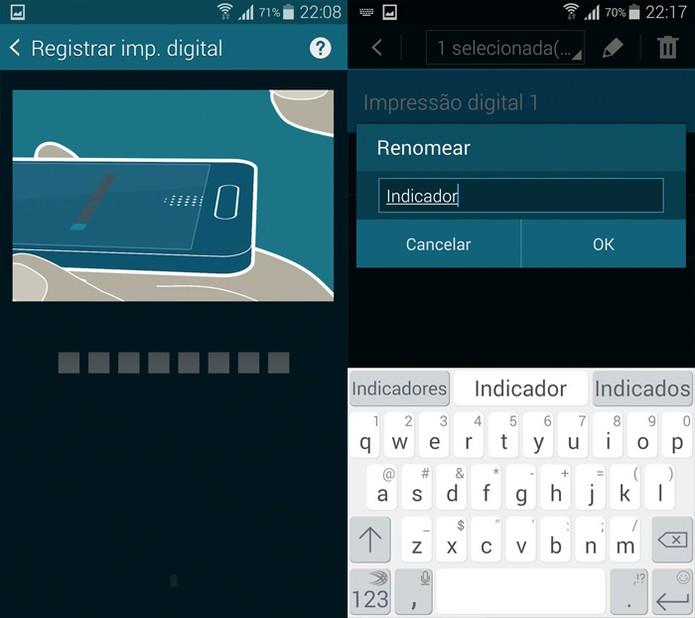 Cadastro de impressão digital no Galaxy S5 (Foto: Reprodução)