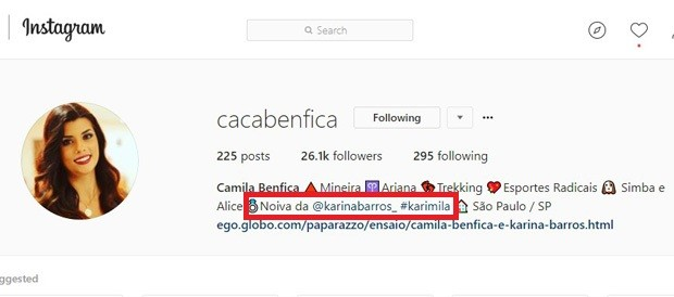 Camila Benfica cita noivado com Karina Barros (Foto: Reprodução/Instagram)
