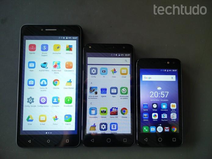 Família PIXI4, nova linha de celulares da Alcatel (Foto: Fabrício Vitorino/TechTudo)