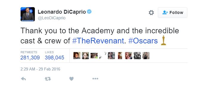 Leonardo DiCaprio fez sucesso no Twitter durante o Oscar (Foto: Reprodução/Twitter)