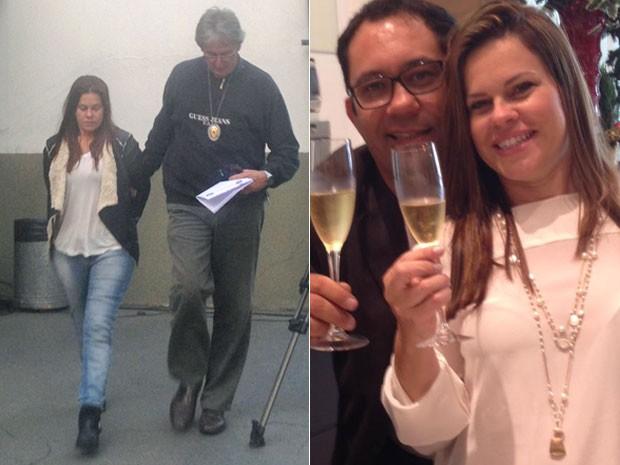 Eliana é levada em delegacia do Brooklin suspeita de participar da morte do marido Luis Eduardo Barreto (à direita) (Foto: Isabela Leite/G1 e Reprodução/Facebook)