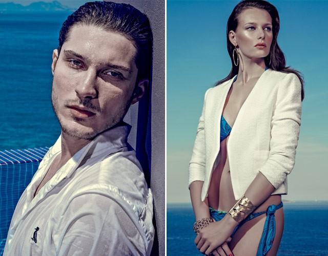 Ele usa camisa, Reserva; à direita, ela veste blazer, Cavendish; biquíni, Salinas; braceletes e brincos, tudo H.Stern (Foto: Zee Nunes)
