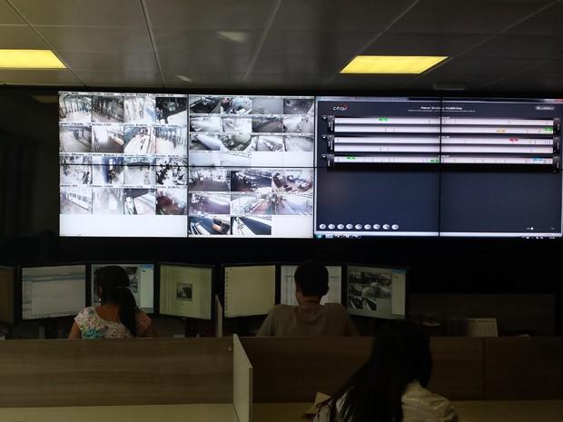 Painel mostra controle operacional realizado por empresa.  (Foto: Laura de Las Casas/G1)
