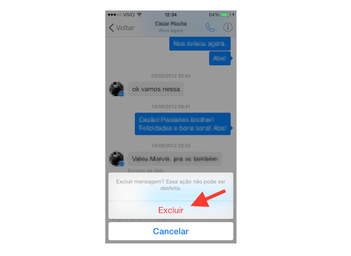 Confirmando a exclusão de uma mensagem no Facebook Messenger para iOS (Foto: Reprodução/Marvin Costa)