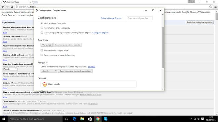 Chrome pode ter Configurações abertas em janela independente (Foto: Reprodução/Elson de Souza)