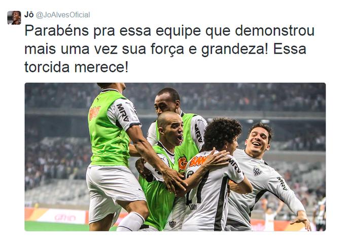 Jô usou as redes sociais para parabenizar os companheiros pela vitória na Copa do Brasil (Foto: Reprodução/Internet)