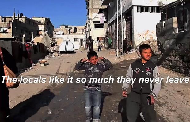 Vídeo faz ironia com o bloqueio mantido por Israel à Faixa de Gaza (Foto: Reprodução/ YouTube Banksy)