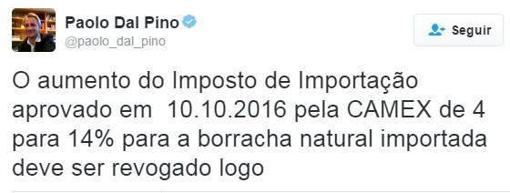 Tuíte do presidente da Pirelli para a América Latina, Paolo Dal Pino (Foto: reprodução/Twitter)