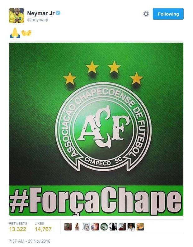 Neymar lamenta acidente com a Chapecoense (Foto  Reprodução Twitter Neymar) b3f8682ab0080