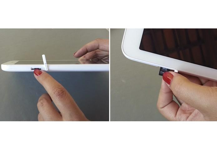 Removendo o cartão de memória do tablet (Foto: Reprodução/Lívia Dâmaso)