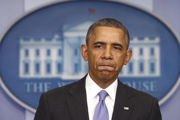 O presidente dos EUA, Barack Obama, dá entrevista nesta quinta-feira (14) na Casa Branca (Foto: AFP)