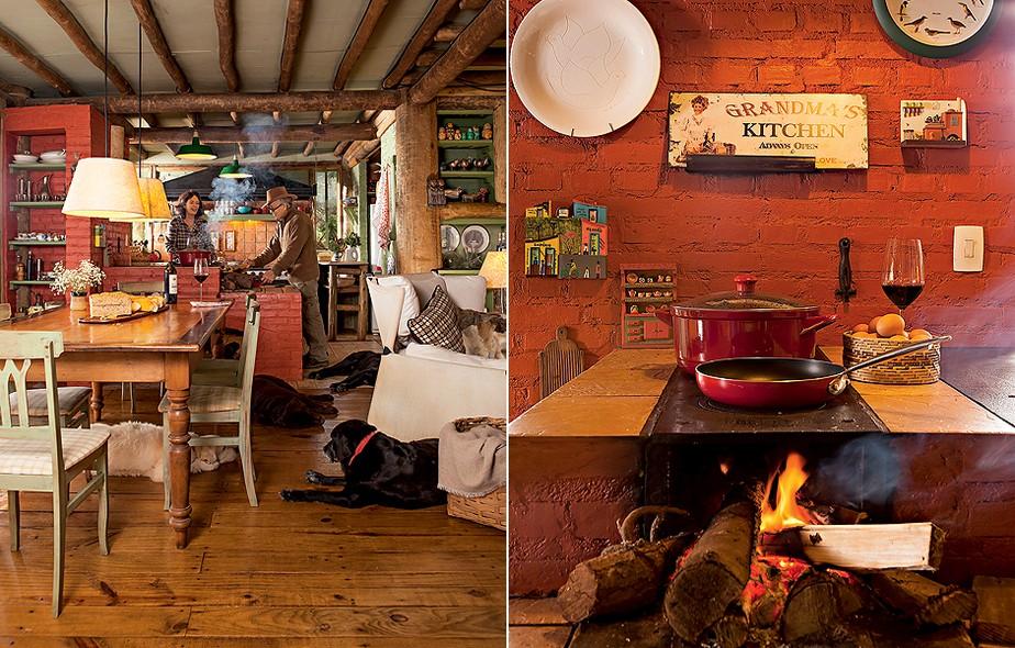 A cabana em São Bento do Sapucaí, interior de São Paulo, é rústica e aconchegante. O fogão à lenha divide o espaço entre a cozinha e a sala de jantar. Projeto do arquiteto Ernesto Tuneau, também dono da casa