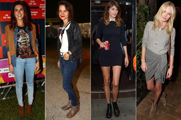 Estilo - Botinhas Chelsea - Fernanda Paes Leme, Bianca Comparato, Alexa Chung e Kate Bosworth (Foto: Iwi Onodera / EGO || Getty Imaes)