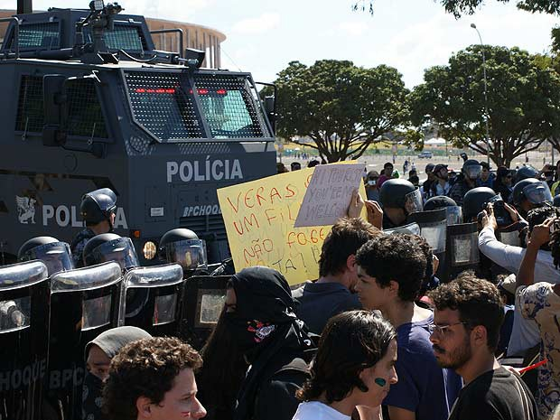 Pictures: Police use tear gas, rubber bullets on protesters outside the Mané Garrincha Stadium