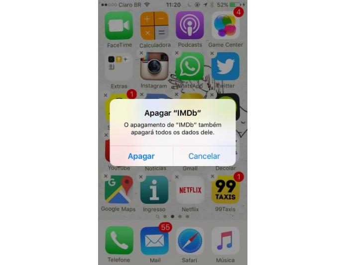 """Toque sobre o """"X"""" do aplicativo para apagá-lo (Foto: Reprodução/Maria Clara Pestre)"""
