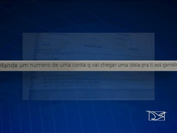 Mensagem mostra detento oferecendo dinheiro a diretor de Casa de Detenção (Foto: Reprodução/TV Mirante)