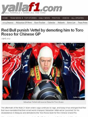 No dia da mentira, site brinca e diz que RBR puniu Sebastian Vettel com rebaixamento para STR (Foto: Reprodução)