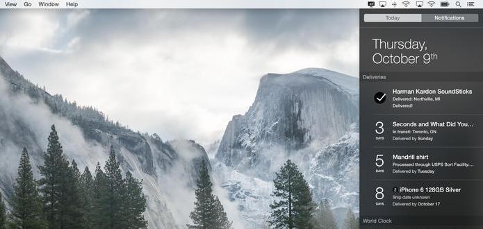 Widget mantém usuário informado sobre suas encomendas (Foto: Reprodução/Mac App Store)