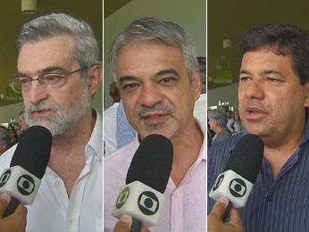 Eugênio, Costa e Mendonça: correligionários e adversário elogiam Bruno Maranhão (Foto: Reprodução/TV Globo)