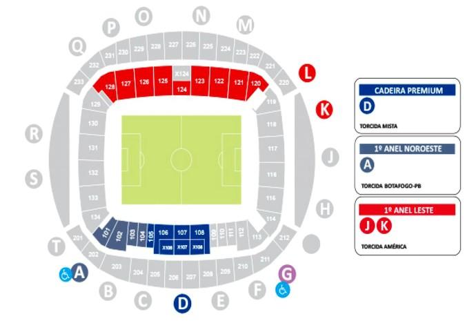 RN - espaços ingressos Arena das Dunas América-RN x Botafogo-PB (Foto: Reprodução)