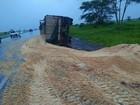 Carreta tomba na rodovia Euclides da Cunha próximo a Cosmorama